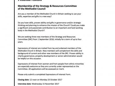3 Volunteer Positions - Strategy & Resources Committee of the Methodist Council