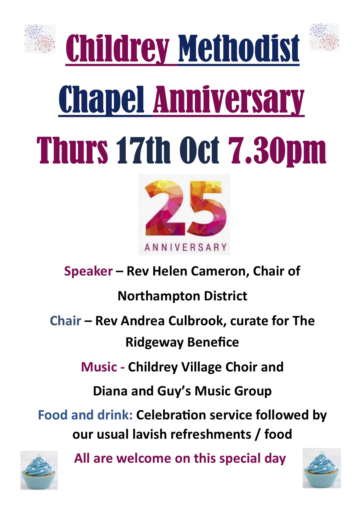 Childdrey Chapel Anniversary 25yrs - Thurs 17th Oct 2019 - 7-30pm