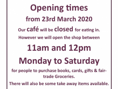 March 2020 Reduced Opening & Menu