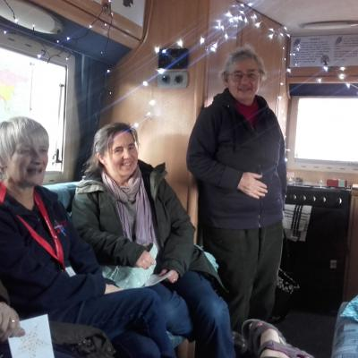 open bus launch inside the motorhome